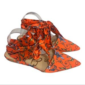 Sam Edelman orange floral Brandi point toe flats